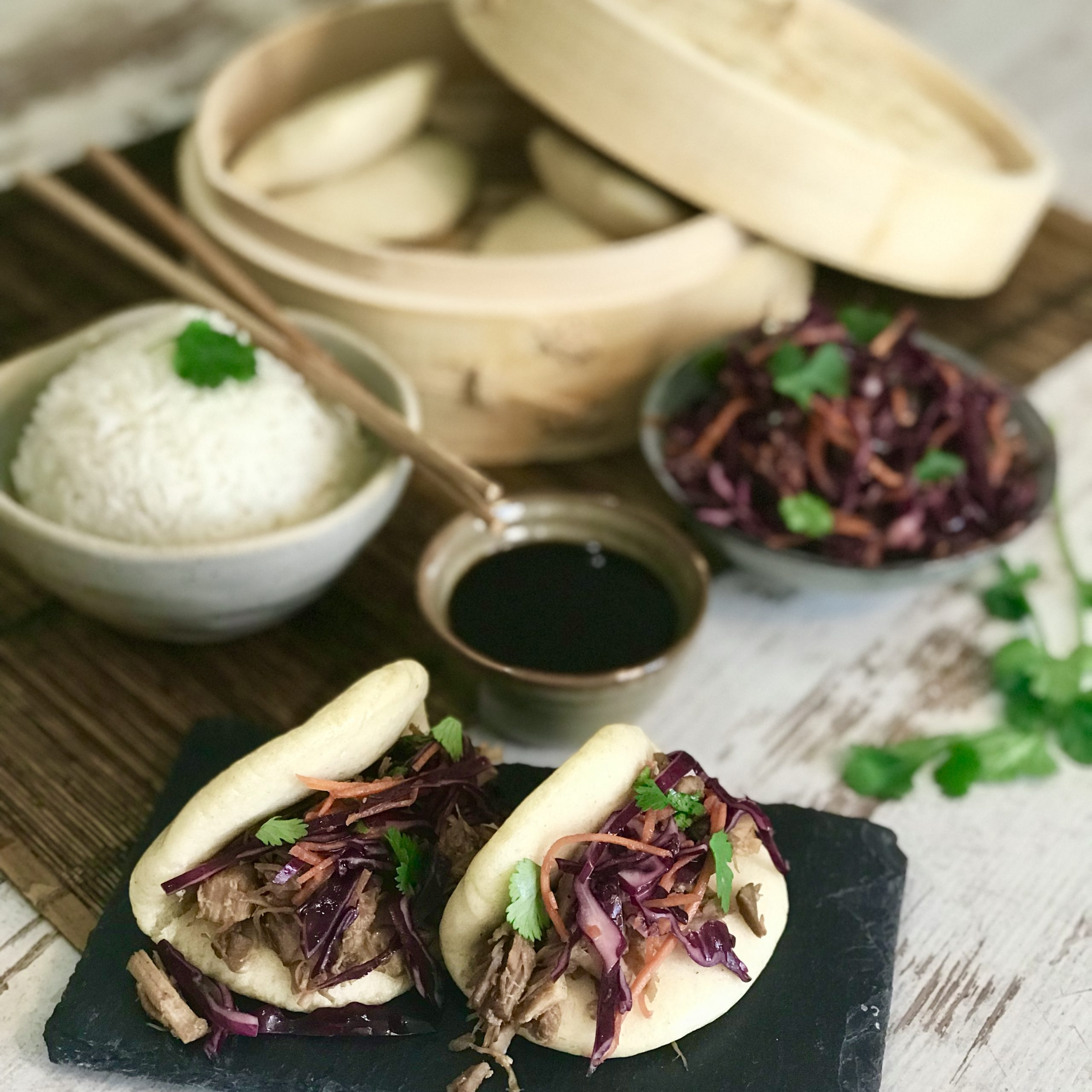 Chinese Steamed Buns (Bao) with Asian-Style Pulled Pork and Slaw