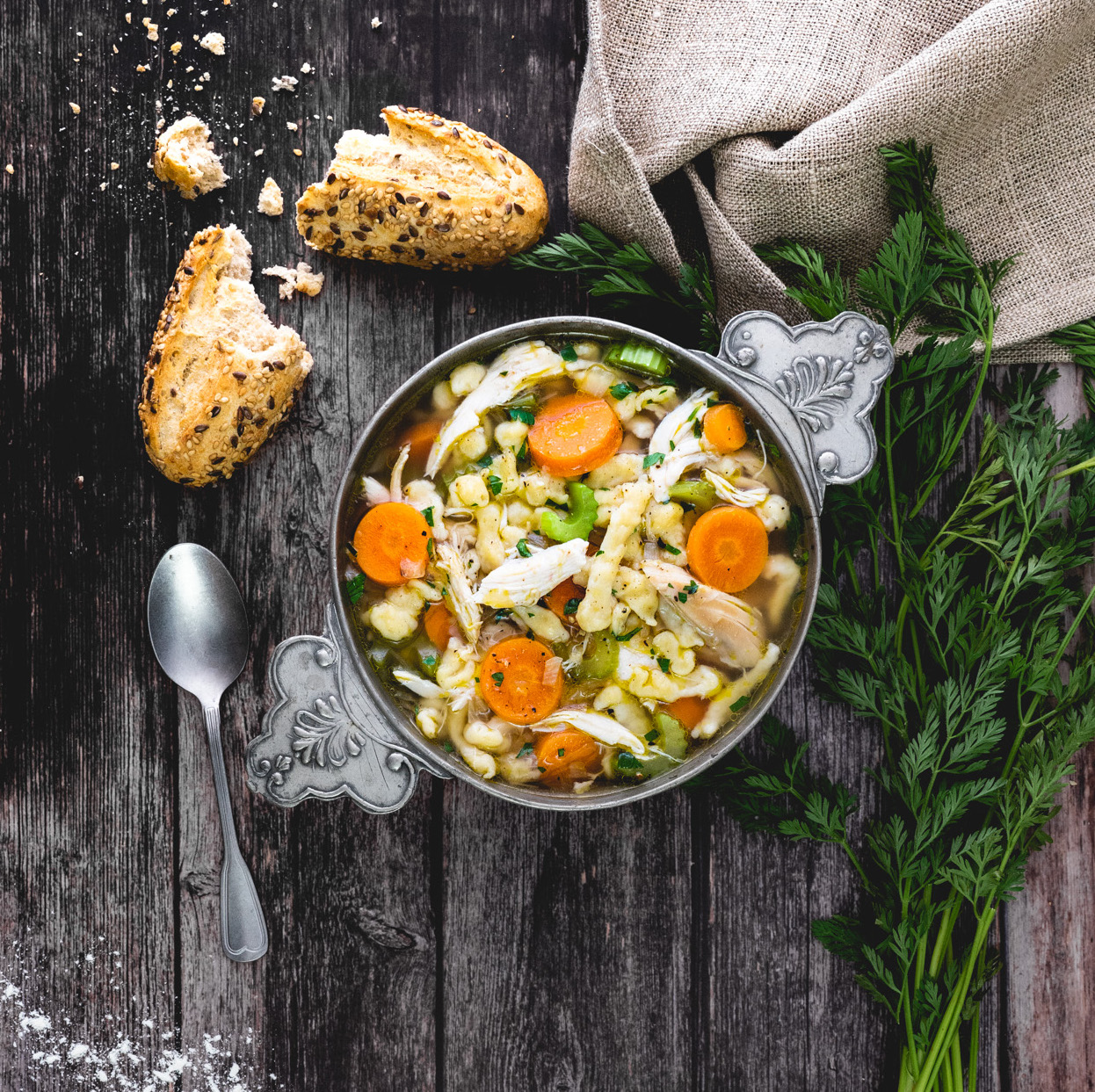 German Style Chicken Soup with Spätzle Noodles
