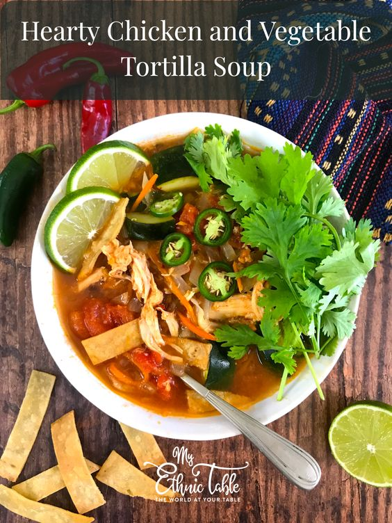 Hearty Chicken and Vegetable Tortilla Soup